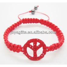 Pulsera tejida Logo rojo de la paz