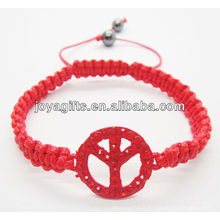 Bracelet tissé rouge Peace Logo