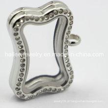 Venda quente de aço inoxidável Zirco vidro Locket Pingente