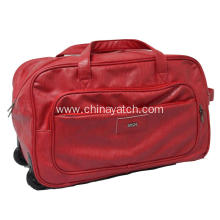 Classic Red  PU Duffle Trolley Bag
