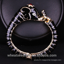 Black and White Glaze Elephant Bracelet Peace Bangle