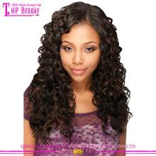 Las pelucas delanteras del cordón de la onda profunda del suministro de la fábrica del pelo de Qingdao pelucas de pelo brasileñas baratas para las mujeres negras