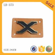 LB373 Etiqueta de cuero de PU para Jeans, Marrón color metal leather Logo Patches