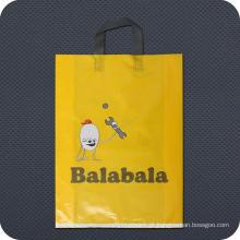 Sacola de compras de plástico impresso e de plástico com alça de alça macia