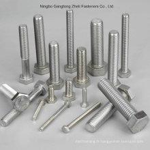 Boulon et écrou en acier inoxydable / boulon hexagonal en acier au carbone et écrou, boulons à tête hexagonale et écrous, DIN933 / 931, DIN934