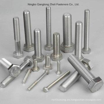 Perno y tuerca hexagonales de acero inoxidable, pernos hexagonales y tuercas, DIN933 / 931, DIN934