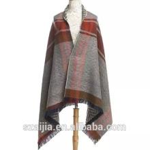 Señoras rayas largo poncho señoras bufanda