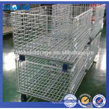 China fabricante de contenedores de malla de alambre de transporte plegable de acero