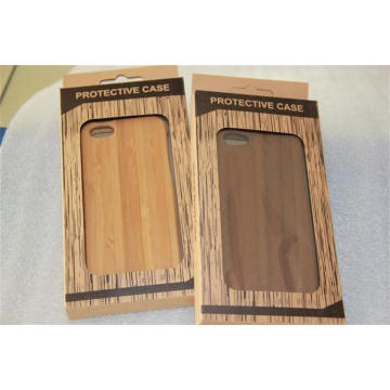 Handmade Genuine Natural Mobile Wood Cover with Protect Plastic Box