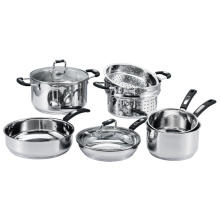12 Pieces Stainless Steel Cookware Set with Steamer