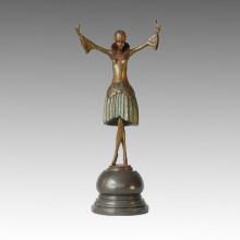 Танцовщица Бронзовая скульптура Танцующая девушка Резьба Латунная статуя TPE-311b
