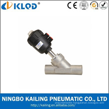 Piston operated welding angle seat valves