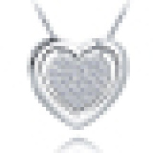Women′s 925 Sterling Silver Pendant Necklace with Double Love Heart with Chain