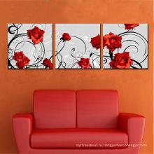 Скидка Сплит 3pices Цветок Роза Холст печать