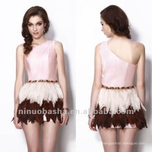 Fashionable One Shoulder Mini Rhinestone Waistband Column Feather Decorations Skirt Homecoming Dress Graduation Gown