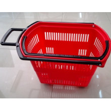 Four Wheels Rolling Plastic Hand Shopping Basket