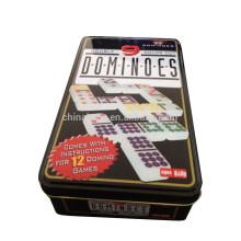 55 peças duplas 9 pontos de cor de dominó em caixa de lata