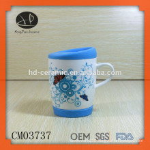 ceramic coffee mug with silicone bottom and lid,Chinese ceramic tea mug with lid,mug in individual white box