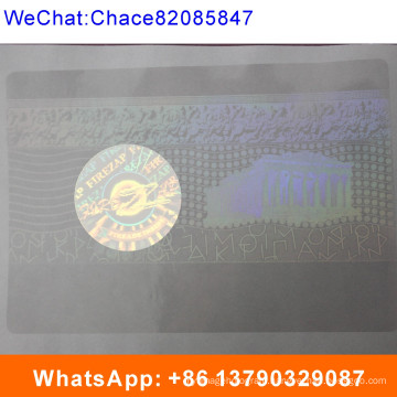 3D Laser Anti-Fake Transparent ID Card Overlay Hologram