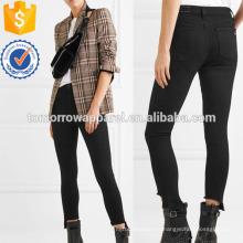 La Capri recortada angustiada High-rise Skinny Jeans Fabricación venta al por mayor de prendas de vestir de las mujeres (TA3069P)