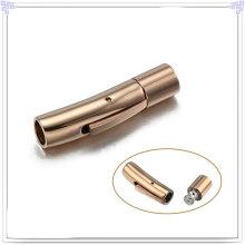 Aço inoxidável jóias pulseira de couro fecho (SL0004RG)