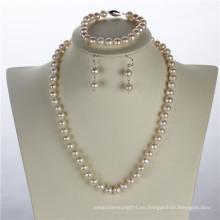 Snh 8mm de la redonda + joyería de plata de agua dulce conjunto de perlas