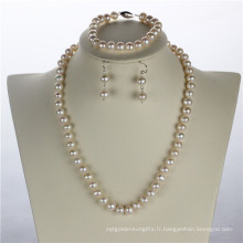 Snh 8mm Off Round a + Ensemble de perles d'eau douce et bijoux en argent