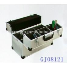 Mallette aluminium solide avec un plateau & 6 compartiments réglables sur le fond de boîtier