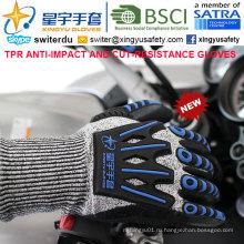 Резать-сопротивление и анти -- удара ТПР перчатки, 15г Пэвд оболочки отрезка-3 уровня, песчаные Нитрил покрытием ладони, Анти-воздействия механик перчатки tpr на спине