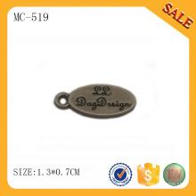 MC519 Oval diseño grabado personalizado logo tags joyas