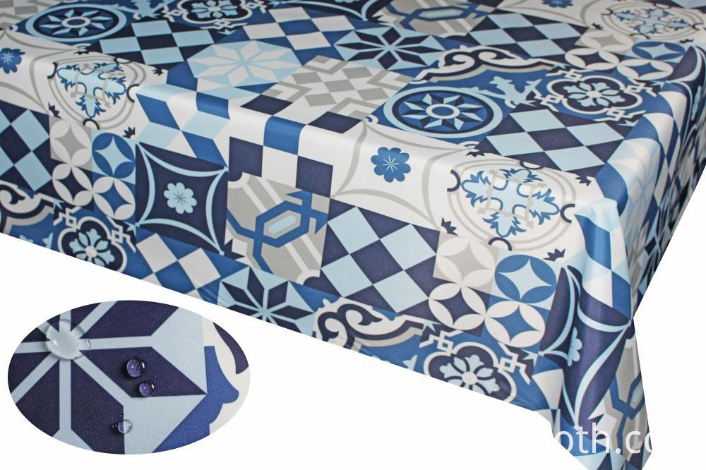 PU Coating Printed 100% Polyster Tablecloth