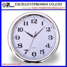 Серебряная рамка печать логотипа Круглые пластиковые настенные часы (Item22)