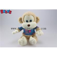 En71 aprobado peluche bebé juguete mono con la camiseta azul Bos1161