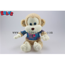 En71 Approved Cuddly Plush Baby Monkey Toy with Blue T-Shirt Bos1161