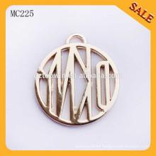 MC225 Etiquetas de encargo de moda de la insignia del metal de la marca de fábrica con las cadenas de la caída