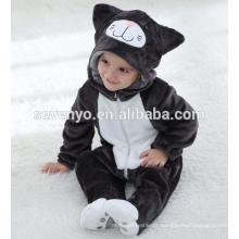 Macio bebê Flanela Romper Animal Onesie Pijamas Outfits Terno, desgaste do sono, pano preto bonito, toalha de bebê com capuz