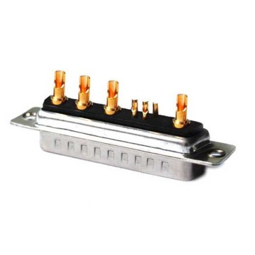 D-SUB 9W4 Power Male Connector Rechte soldeer type