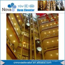 Ascensor panorámico con pared de coches de vidrio para el centro comercial