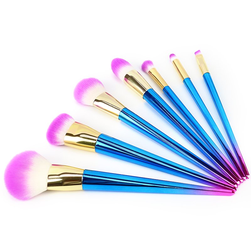 Rainbow Synthetic Hair Makeup Brushes