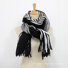 Écharpe en tricot à rayures chaudes d'hiver unisexe (SK175)