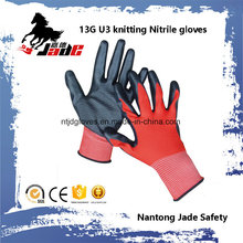 13G U3 Knitting Palm Black Nitrile Smooth Coated Glove