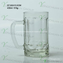 430ml Small Glass Bear Cup with Strip Nice Shape