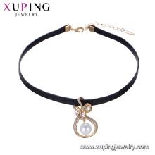 44242 Beautiful women jewelry special design bowknot shape pearl bezel setting pendant leather choker nacklace