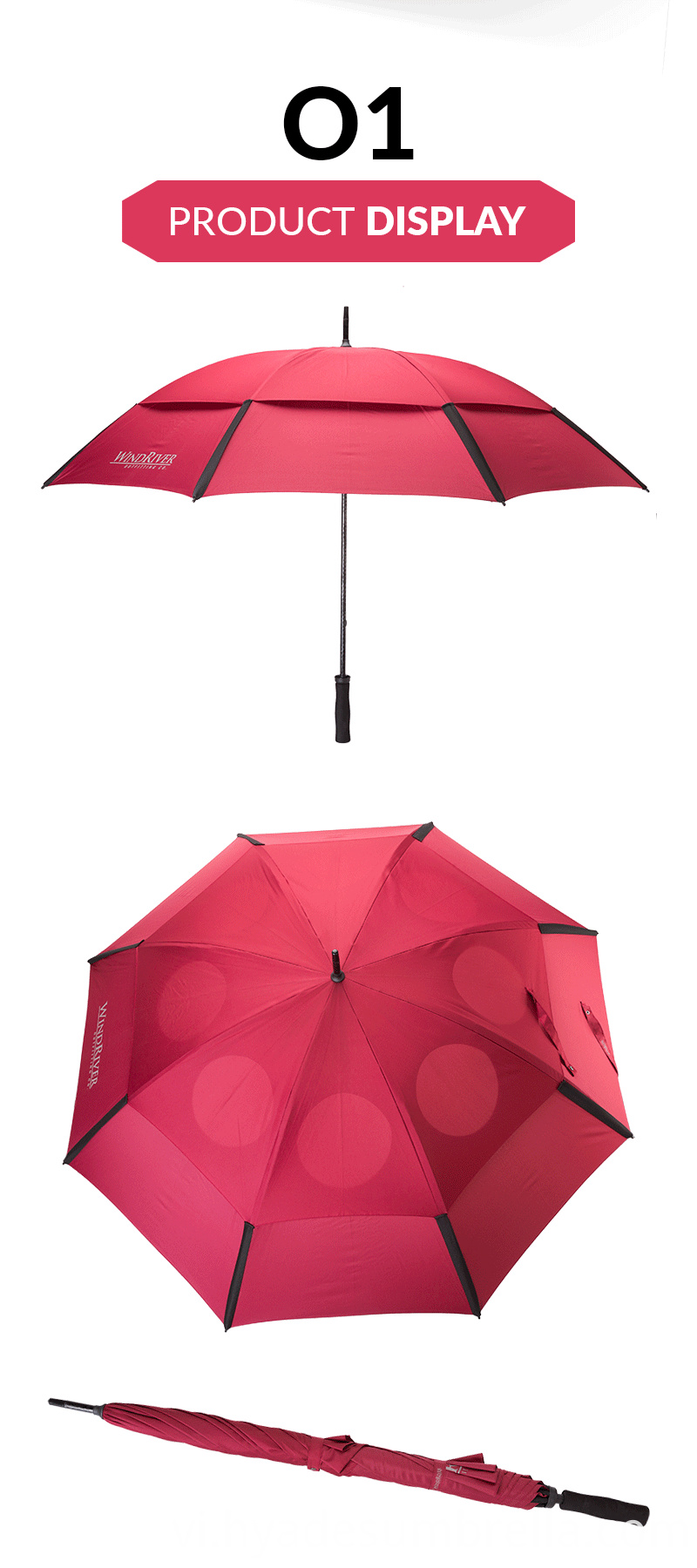 Wine Double Layered Windproof Golf Umbrella