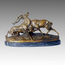 Animal Statue Deers Fighting Bronze Sculpture, C. Masson Tpal-096