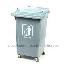 Eco-Friendly Ambientalmente ao ar livre Plastic Trash Bin Rubber Wheel
