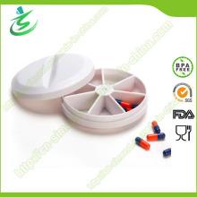 Boîte à pilules en plastique rond, étui à comprimé hebdomadaire de 7 jours