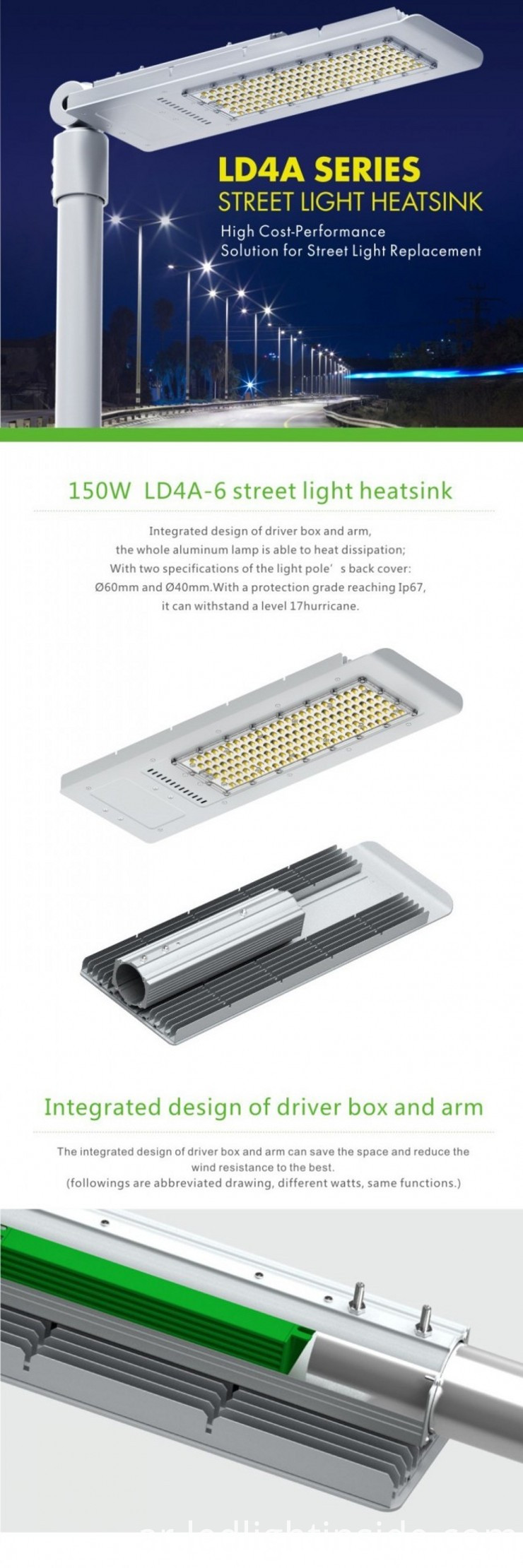 5-Year-Warranty 150W LED Street Light IP65