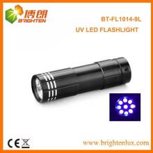Fabrik Versorgung Bunte CE Aluminium 380nm-385nm Wellenlänge AAA Batterie angetrieben 9 führte Ultraviolett-Taschenlampe für Fälschungen
