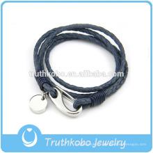 Bracelet en cuir des femmes en gros avec pinces de homard en acier inoxydable avec bracelet en cuir cercle à la main